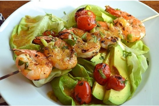 Barbecue Shrimp with Avocado Salad