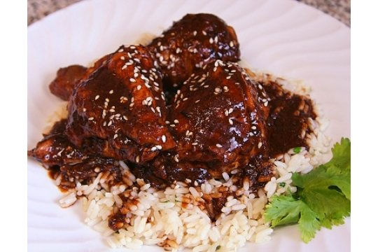 Braised Chicken with Oaxacan Chocolate Mole Sauce