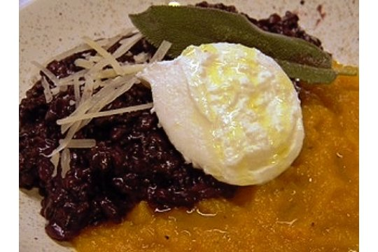 Risotto Nero with Squash and Burrata